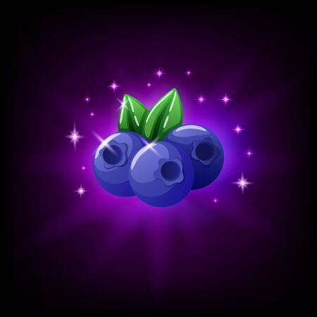 Blueberries with green leaf slot icon for online casino or mobile game, vector illustration with sparkles on dark purple background Archivio Fotografico - 129393993