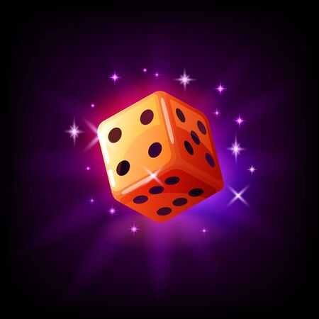 Orange game dice in flight with sparkles slot icon for online casino or mobile game, vector illustration on dark purple background