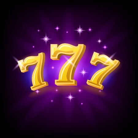 Lucky seven on slot machine, icon for online casino or mobile game, fortune chance symbol, vector illustration with sparkles on dark purple background Reklamní fotografie - 129393998