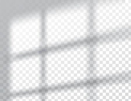 Cienie, makiety efektów nakładki, naturalne światło wewnętrzne ramy okiennej, ilustracja wektorowa