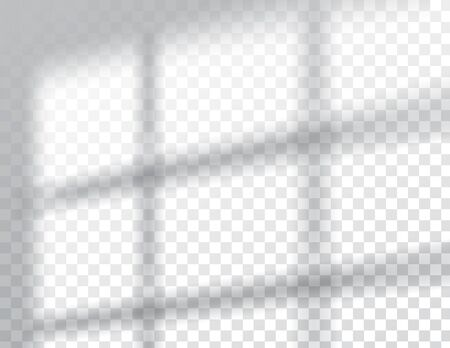 Sombras, maquetas de efectos de superposición, luz interior natural del marco de la ventana, ilustración vectorial