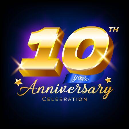 Gold 10 anniversary celebration number,  emblem, design template for poster, banner, vector illustration isolated