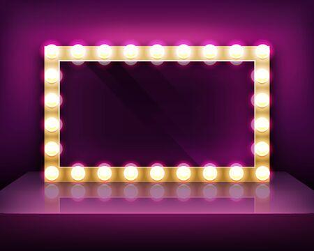 Goldschild oder Schminkspiegelrahmen mit Glühbirnenschablone, Vektorillustration