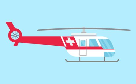 Ambulance helicopter. Red medical evacuation helicopter. Healthcare, hospital and medical diagnostics. Urgency and emergency services. Vector illustration in flat style.