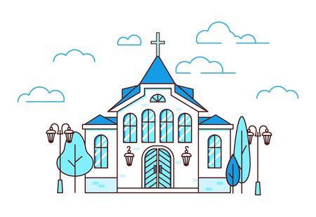 Line art house Christian church with trees and lanterns, beautiful building, estate collection, vector illustration