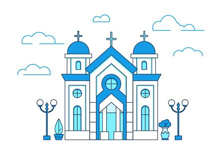 Line art house Christian church in greece with clouds and lanterns, beautiful building, estate collection, vector illustration Reklamní fotografie - 129394314