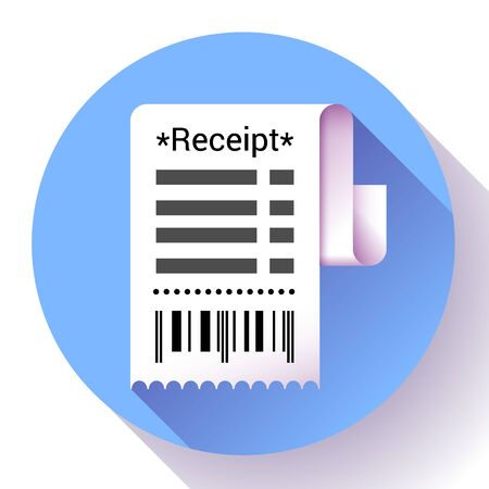 Paper receipt, bank document, payment and bill invoice icon, retail and sales concept, vector illustration