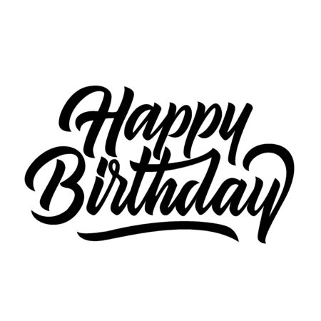 Happy birthday congratulation black handwriting lettering isolated on white background, design for poster, greeting card, banner, invitation, vector illustration Archivio Fotografico - 129394316
