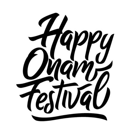 Happy Onam festival in Kerala black handwriting lettering isolated on white background, design for typography, poster, greeting card, banner, invitation, vector illustration