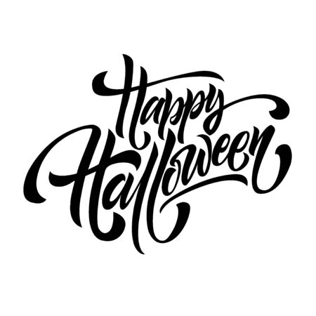 Happy Halloween handwriting lettering isolated on white background, holiday congratulation design for poster, greeting card, banner, invitation, vector illustration Reklamní fotografie - 129394345