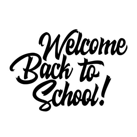 Welcome back to school black handwriting lettering isolated on white background, design for poster, greeting card, banner, invitation, vector illustration Reklamní fotografie - 129394347