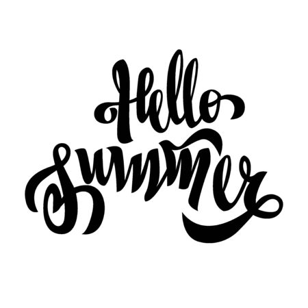 Hello Summer black handwriting lettering isolated on white background, holiday design for poster, greeting card, banner, invitation, vector illustration