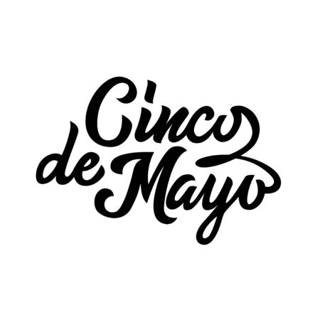 Cinco de Mayo black typography handwriting lettering isolated on white background, design for typography, poster, greeting card, banner, invitation, vector illustration Archivio Fotografico - 129394353