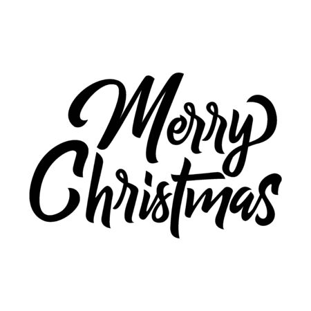 Merry Christmas black handwriting lettering isolated on white background, holiday design for poster, greeting card, banner, invitation, vector illustration