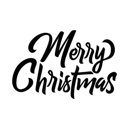 Merry Christmas black handwriting lettering isolated on white background, holiday design for poster, greeting card, banner, invitation, vector illustration Reklamní fotografie - 129394354