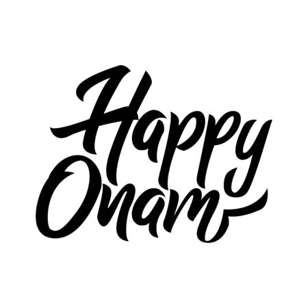 Happy Onam festival in Kerala black handwriting lettering isolated on white background, design for typography, poster, greeting card, banner, invitation, vector illustration Reklamní fotografie - 129395122