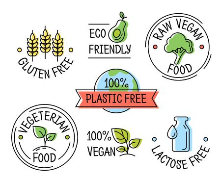 Set of eco icon line style icons, gluten, plastic, lactose free labels, vegetarian and vegan food, sticker template for product packaging vector illustration Archivio Fotografico - 129395126