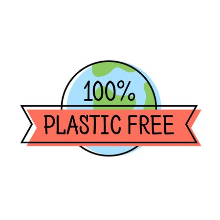 Plastic free product label  line style with Earth and text, template for packaging, vector illustration. Reklamní fotografie - 129395124