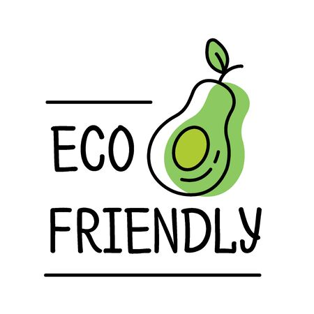 Eco friendly product label in line style with green avocado text, design template for packaging, vector illustration Archivio Fotografico - 129395123