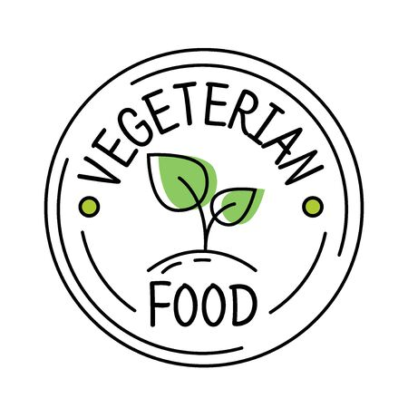 Vegetarian food label line style with green leaf, sticker template for product packaging, vector illustration