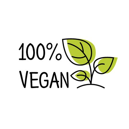 100 Vegan label line style with green leaf, sticker template for product packaging, vector illustration Archivio Fotografico - 129395127