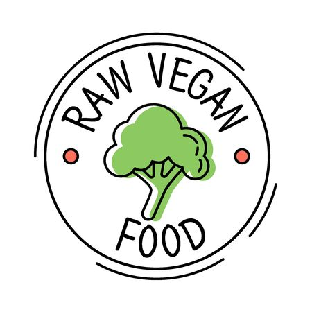 Raw Vegan food label line style with green broccoli, sticker template for product packaging, vector illustration Ilustrace