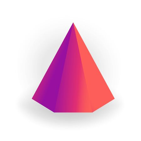 hexagon pyramid - 3D geometric shape with holographic gradient isolated on white background  イラスト・ベクター素材