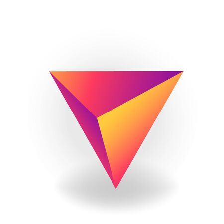 tetrahedron - One 3D geometric shape with holographic gradient isolated on white background, figures, polygon primitives, maths and geometry, for abstract art