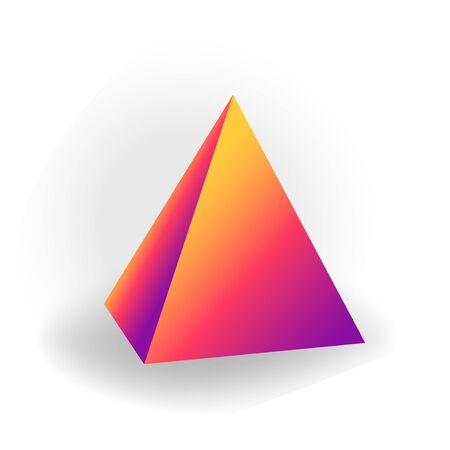 pyramid - 3D geometric shape with holographic gradient isolated on white background, figures, polygon primitives, maths and geometry, for abstract art