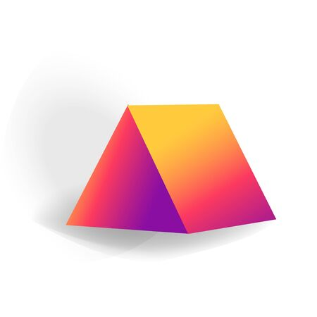 triangular prism - One 3D geometric shape with holographic gradient isolated on white background, figures, polygon primitives, maths and geometry, for abstract art