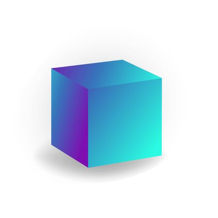 cube - 3D geometric shape with holographic gradient isolated on white background, figures, polygon primitives, maths and geometry, for abstract art