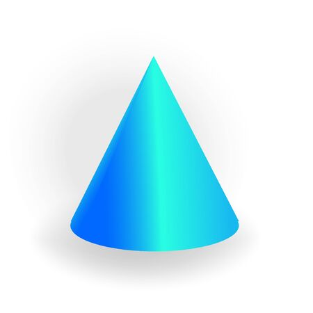 Cone - One 3D geometric shape with holographic gradient isolated on white background, figures, polygon primitives, maths and geometry, for abstract art