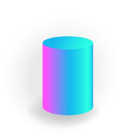 cylinder - One 3D geometric shape with holographic gradient isolated on white background, figures, polygon primitives, maths and geometry, for abstract art