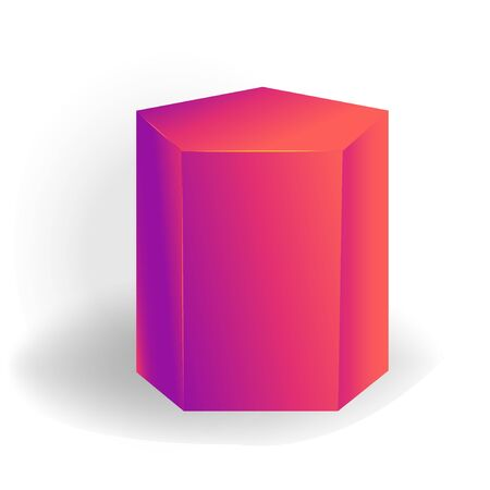 pentagonal prism- One 3D geometric shape with holographic gradient isolated on white background, figures, polygon primitives, maths and geometry, for abstract art