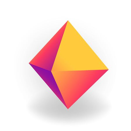 octahedron - 3D geometric shape with holographic gradient isolated on white background, figures, polygon primitives, maths and geometry, for abstract art