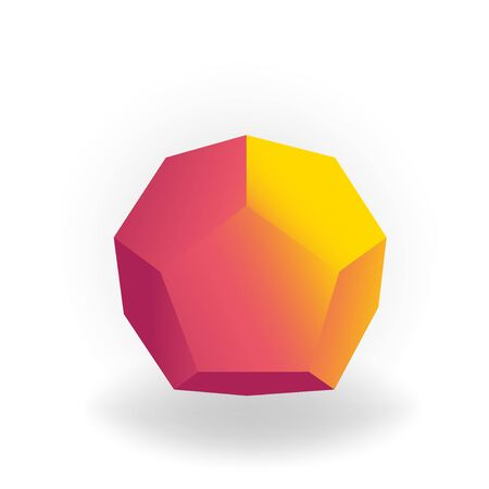 dodecahedron -3D geometric shape with holographic gradient isolated on white background, figures, polygon primitives, maths and geometry, for abstract art Ilustrace