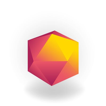 icosahedron - 3D geometric shape with holographic gradient isolated on white background, figures, polygon primitives, maths and geometry, for abstract art