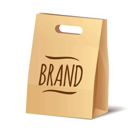 Paper packaging shopper eco bag for food, cosmetics or other purchase vector icon.