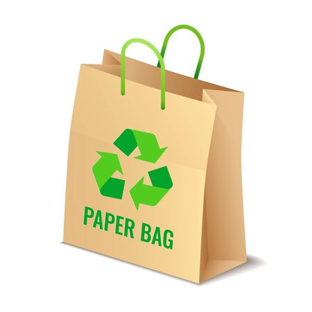 Brown paper eco bag with rgreen ecycling symbol isolated, care about environment vector illustration Ilustrace