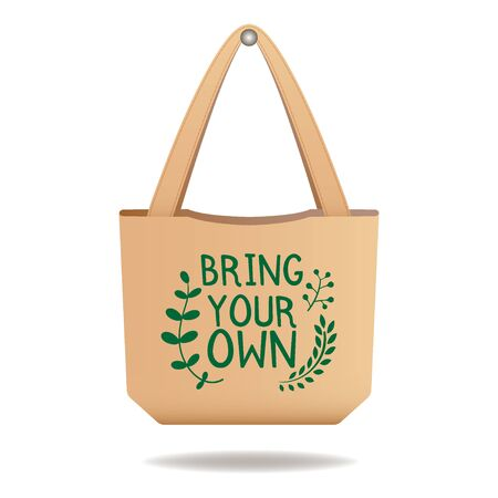 Brown linen eco bag with sign Bring your own, care about environment vector illustration