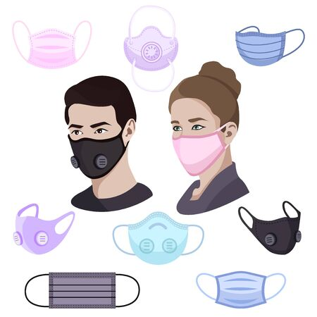 Colorful air pollution face masks set isolated, man and woman wearing medical mask, protection and healthcare, vector illustration