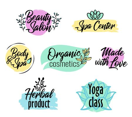 Brush style set, beauty salon, spa center, herbal product, personal care, colorful label with text for organic cosmetics packaging, vector illustration