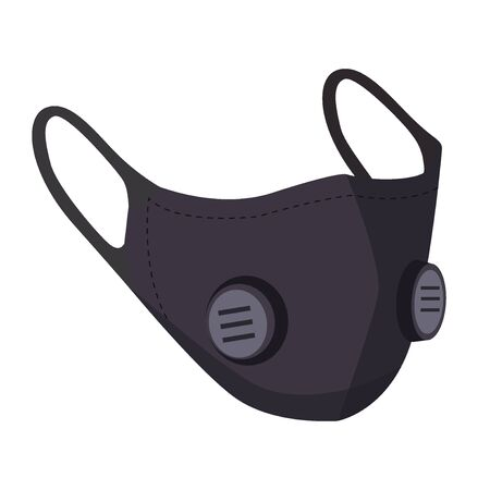 Black air pollution face mask isolated, for man and woman medical mask, protection and healthcare, vector illustration Ilustrace