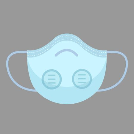 Colorful air pollution face mask isolated, for man and woman medical mask, protection and healthcare, vector illustration