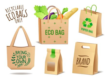 Set of textile, linen and paper shopping eco bags set and packaging, no plastic package, pollution problem, care about environment, vector illustration