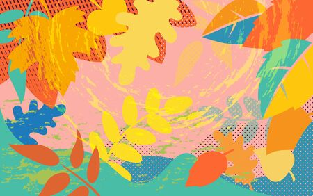 Bright abstract pattern background with colorful autumn tree foliage, plants leaves, vintage wallpaper design, vector illustration Stock Illustratie