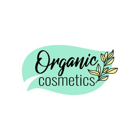 Brush style beauty salon, spa center, herbal product, personal care, colorful label with text for organic cosmetics packaging, vector illustration