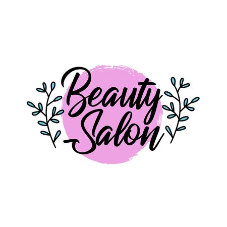 Brush style beauty salon, spa center, herbal product, personal care, colorful label with text for organic cosmetics packaging, vector illustration Ilustrace