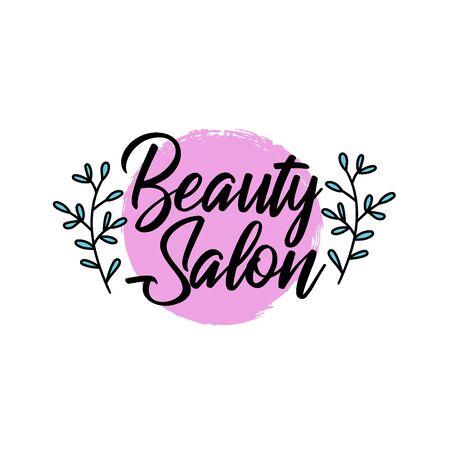 Salone di bellezza in stile pennello, centro benessere, prodotti a base di erbe, cura personale, etichetta colorata con testo per l'imballaggio di cosmetici biologici, illustrazione vettoriale