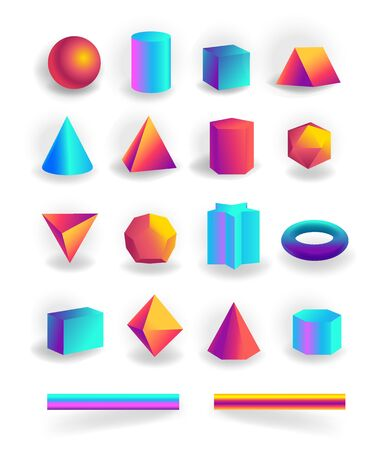 Set of 3d geometric shapes and editable strokes with holographic gradient isolated on white background, figures, polygon primitives, maths and geometry, vector illustration Ilustrace